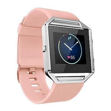 Xinantime para Fitbit Blaze, Correa de Banda de la Muñeca Reloj Blando de Silicona (Rosado): Amazon.es: Deportes y aire libre