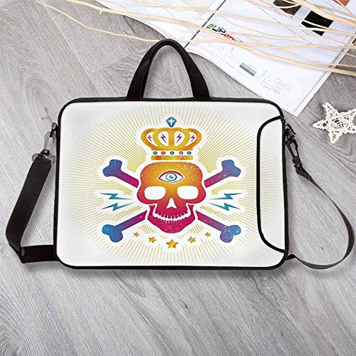 "(King Custom Neoprene Laptop Bag,Digital Print Skull with Crown and Bones Abstract Stars Ombre Design Laptop Bag for Men Women Students,8.7""L x 11""W x 0.8""H)"