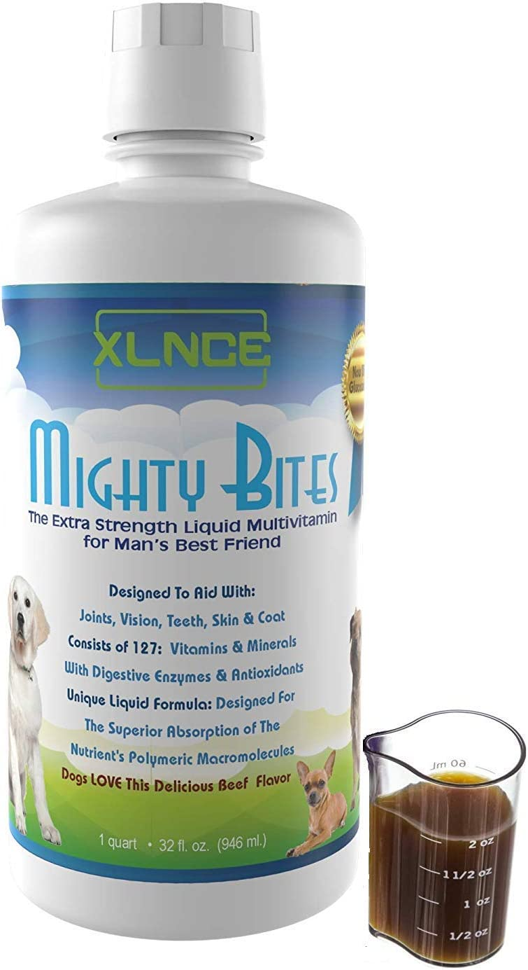 MightyBites Liquid Multivitamin for Dogs – Poured Over Food for Improved Health and Increased Energy Glucosamine MSM for Hip and Joint Care Seaweed Blend with Amino Acids Digestive Enzymes CoQ10