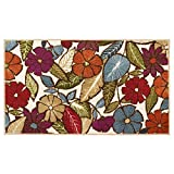 Modern Living Flowers Decorative Area Accent Rug, 26 by 45-Inch