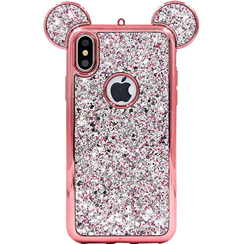 iPhone X Case, MC Fashion Super Cute Sparkle Bling Bling Glitter 3D Mickey Mouse Ears Soft and Protective TPU Rubber Case for Apple iPhone X/iPhone Xs (Rose Gold)