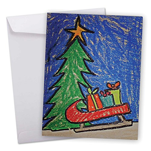 J6739JXSG Jumbo Merry Christmas Card: Christmas Coloring, Featuring a Sweet Children's Drawing of Christmas Motifs With Envelope (Giant Size: 8.5