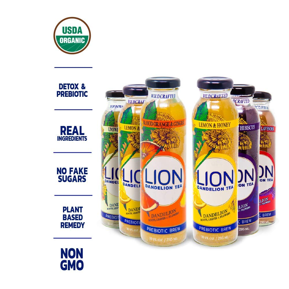 LION Organic Bottled Dandelion Tea | Variety Pack | Improve Digestion, Reduce Bloating and Boost your immune system with our tea full of Prebiotics & Antioxidants | 10 Fl OZ | 6 pack