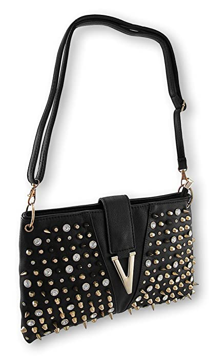 Black Handbag with Gold Spikes, Studs, and Rhinestones: Handbags ...