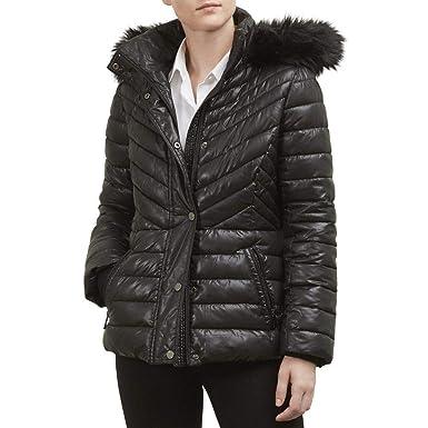 Cole Kenneth Fur Puffer Faux Coat York Trimmed Short New VUpGqSMz
