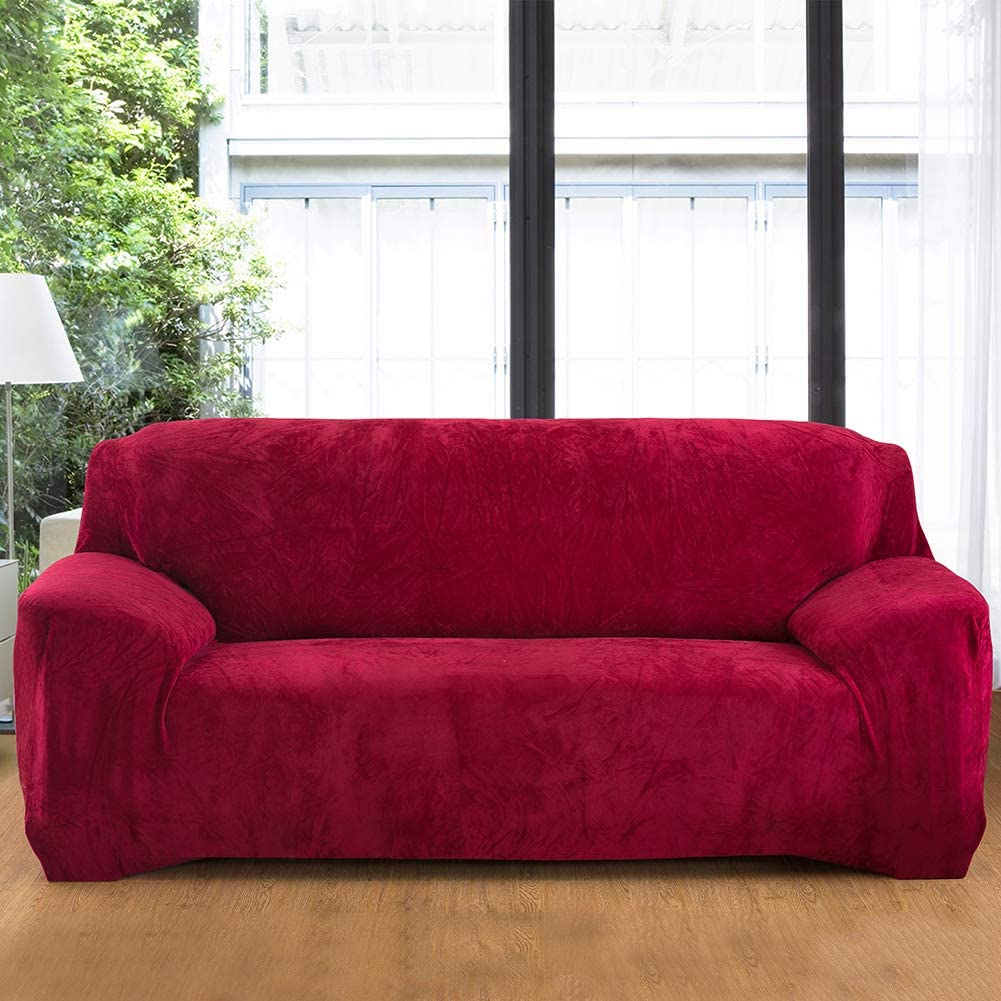 Hengweiuk Thick Sofa Covers Navy, 2 Seater//Loveseat Premium Pure Color Sofa Protector 1//2//3//4 Seater Velvet Sofa Slipcover Stretch Easy Fit Stylish Furniture Cover Pet Dog Protector