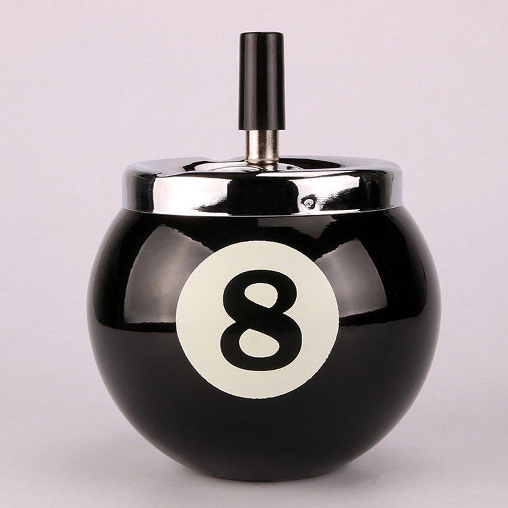 VORCOOL posacenere a forma di sfera da biliardo in metallo con numero 8 per interni ed esterni nero