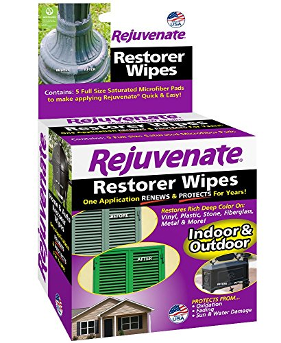 (Rejuvenate Pre-Saturated Restorer Wipes Penetrating Formula Restores Shines and Protects Faded, Oxidized, Sun-Damaged Outdoor Surfaces – 5-Pack)