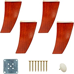 Set of 4 Solid Wood Furniture Legs, Sofa Replacement Feet, Curved Feet, Two Seater Sofa Chair, Ottoman, Coffee Table, Cabinet Base, Pine, with Mounting Fittings (Red 10cm / 3.9in)
