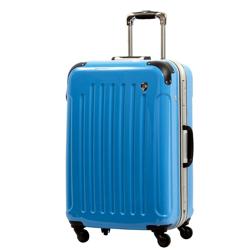 [グリフィンランド]_Griffinland TSAロック搭載 スーツケース 軽量 アルミフレーム ミラー加工 newPC7000 フレーム開閉式 B078JD4T83 MS型+【名前刻印】|シアンブルー シアンブルー MS型+【名前刻印】