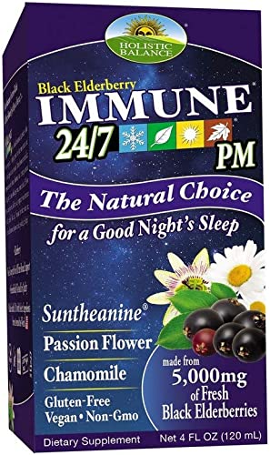 Holistic Balance Immune 24 7 Plus Eldeberry- 4oz. PM – Nighttime Formula. Immune Support, Elderberry Syrup Suntheanine Herbs for Restful Sleep, 4 fl. oz