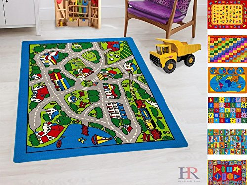 Handcraft Rugs-Round Kids Rugs Driving Skills /Play Time Street Map Rubber Back/ Non-Slip Ideal for Classroom/ Kids Room / Day Care / Preschool (Driving Kids)