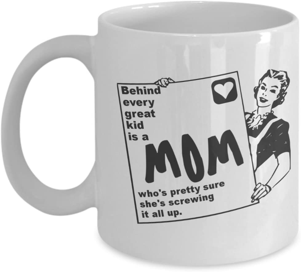 Amazon Com Behind Every Great Kid Is A Mom Funny Coffee Mug 11oz Kitchen Dining