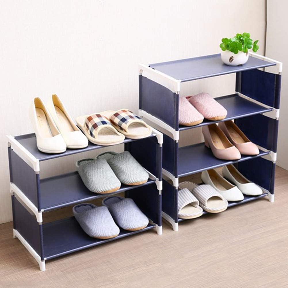 3//4 Layers Shoe Rack Bedroom Space Saving Stand Solid Shelves Storage Organizer Navy S farawamu Shoe Rack
