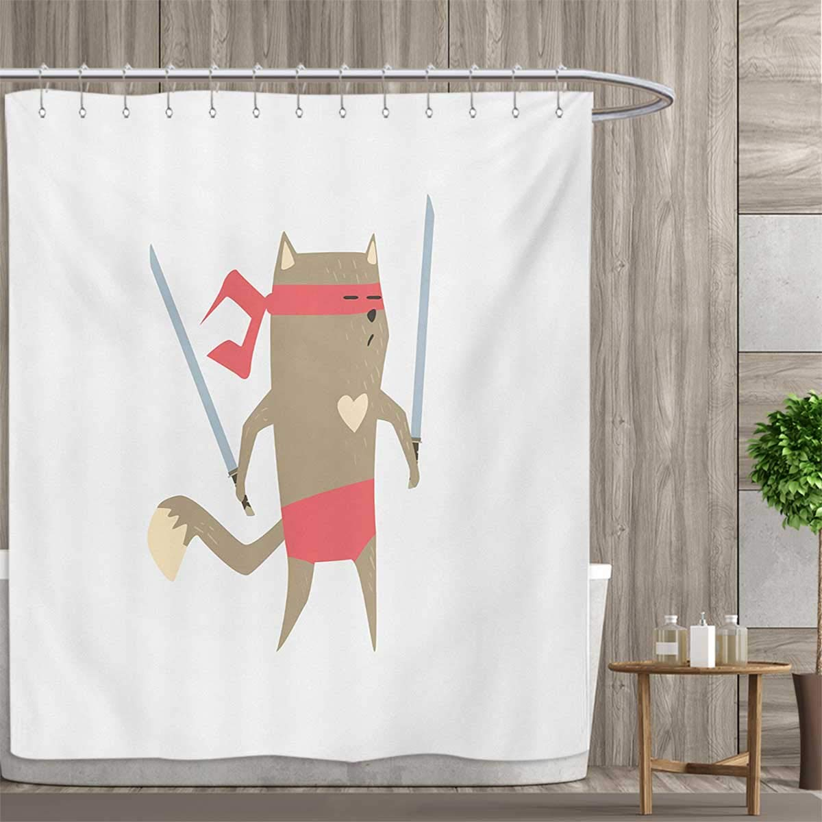 Amazon.com: smallfly Japanese Shower Curtains Fabric Crime ...
