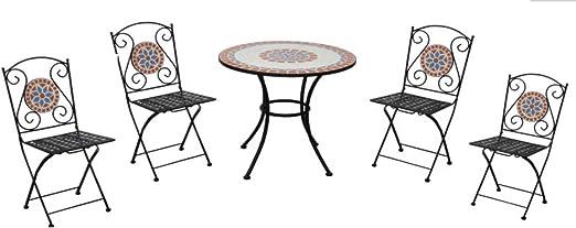 Set Pranzo Da Giardino Con Mosaico In Ceramica Quattro Posti Con Tavolo Tondo E Sedie Pieghevoli Arredamento Bar E Giardini Amazon It Giardino E Giardinaggio