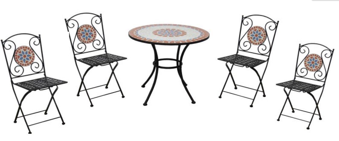 Tavolo Da Giardino In Ferro E Mosaico.Set Tavolo Da Giardino E 2 Sedie Piastrelle A Mosaico Ferro Sedia
