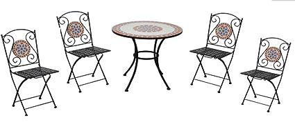 Tavoli Da Giardino Ferro E Ceramica.Tavolo Da Giardino Con Sedie In Ceramica E Ferro