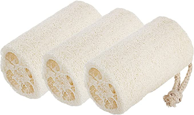 Loofah Esponja 3 Pack, Natural Estropajo, ideal para baño o cocina, Natural Lufa Exfoliante Esponja de baño por spa destinos: Amazon.es: Hogar