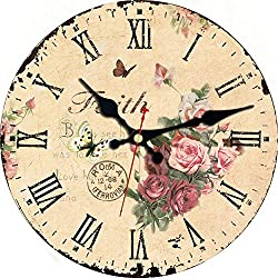 MEISTAR 12 Inch Home Decor Wall Clock,Wooden Classic Retro Flowers and Butterfly Battery Operated Quartz Wall Clocks for Children Bedroom,Dining Room