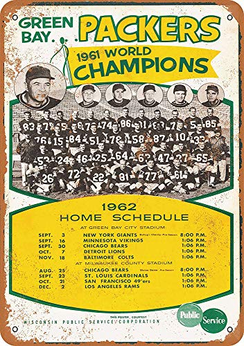 (WallDector Green Bay Packers Schedule Iron Poster Painting Tin Sign Vintage Wall Decor for Cafe Bar Pub Home Beer Decoration Crafts)