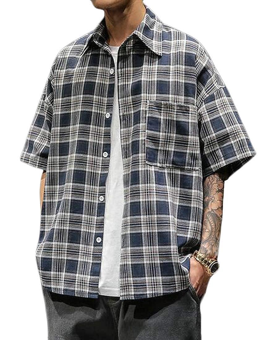 X-Future Mens Loose Fit Short Sleeve Plus Size Plaid Summer Big /& Tall Checkered Shirt