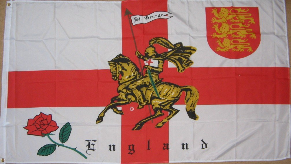 England Rose and Lion Charger St George 5'x3' Flag Emblems-Gifts