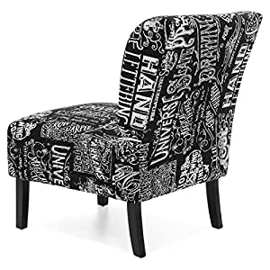 Best Choice Products Modern Contemporary Upholstered Armless Accent Chair (Black/White)