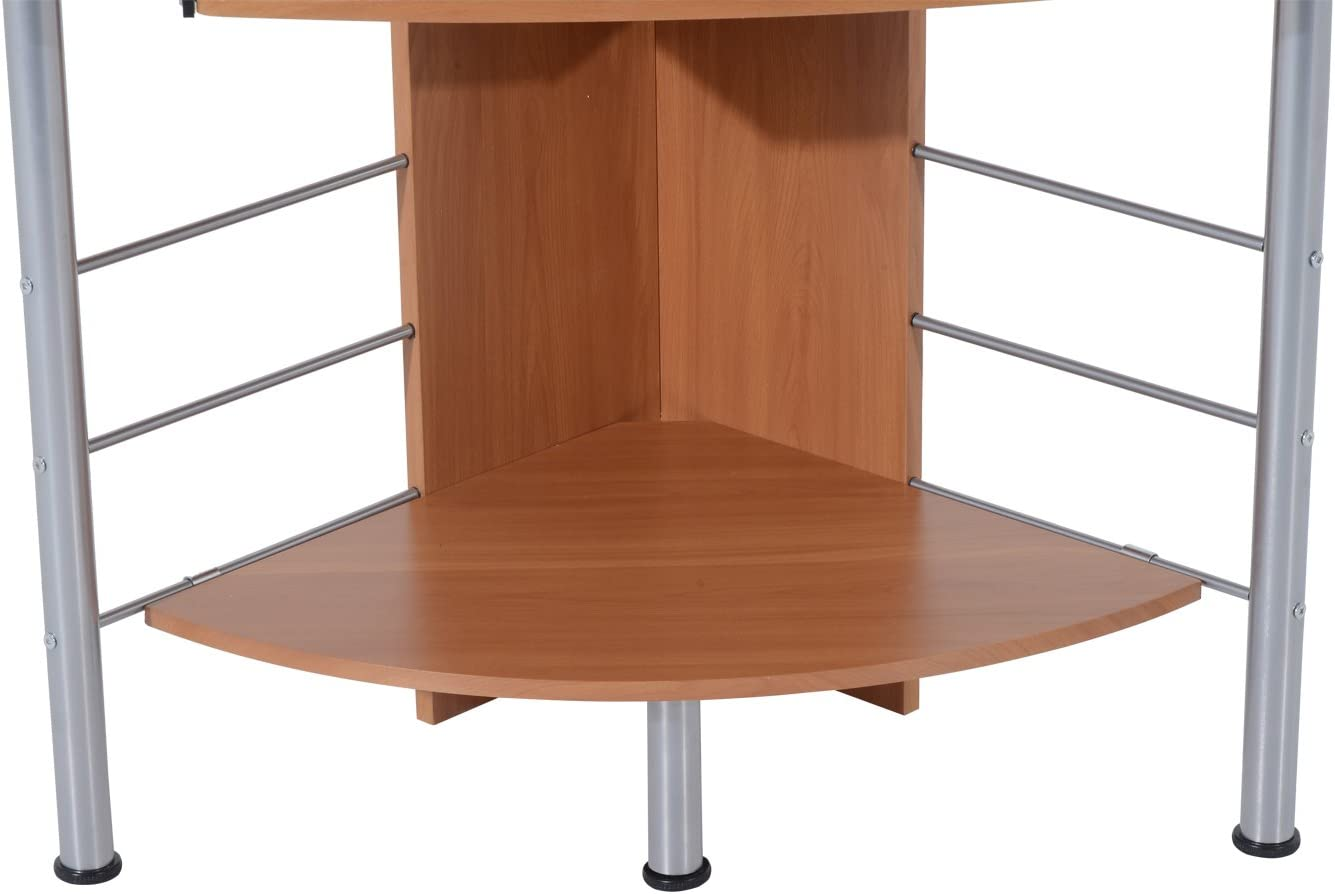 Homcom – Escritorio de madera e hierro para ordenador de oficina 113 x 65 x 158 cm Marrón: Amazon.es: Hogar