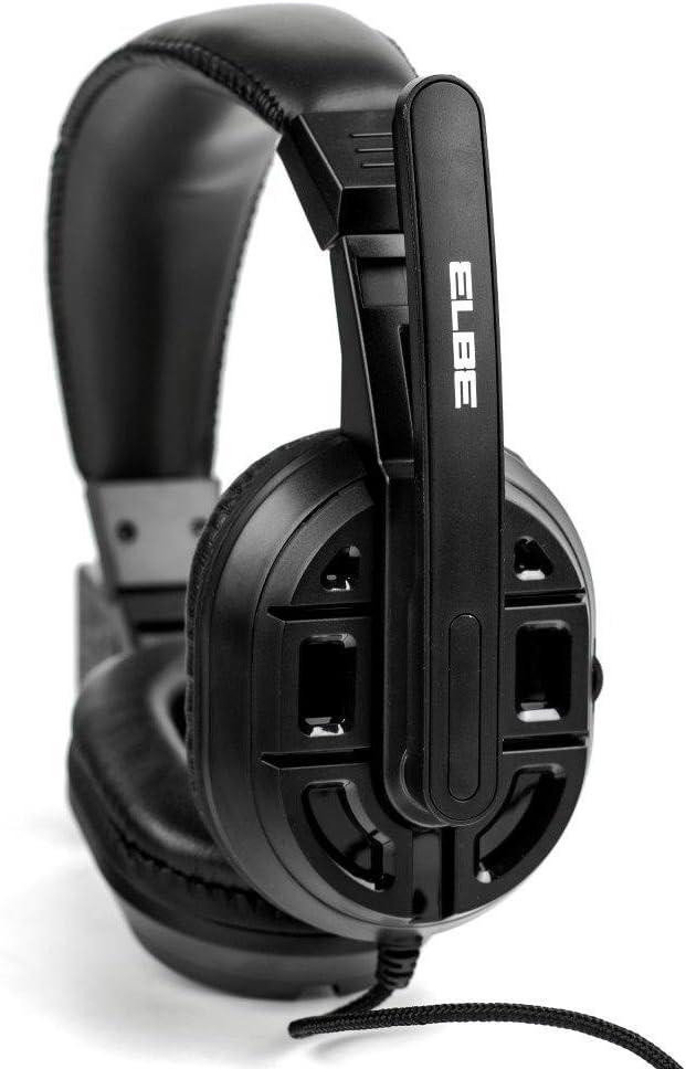 Elbe AU-629-PC - Auriculares de diadema con micrófono incorporado, para PC, color negro: Amazon.es: Electrónica