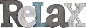 Waroom Home Rustic Wood Relax Sign Décor, Decorative Block Word Sign Relax Letters Sign, Hanging Wooden Relax Cutout Word Sign Wall Décor Relax Wall Decoration (Gray Relax Sign)