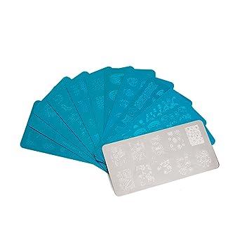Tinksky 10 Piezas Placa de Estampa la Impresora de Uñas Nail Art (Plata)