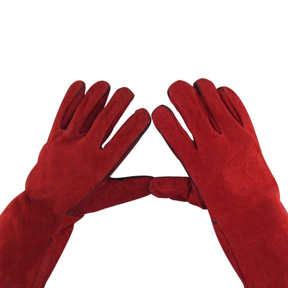 welding gloves Guantes De Soldadura De Rojo Largo Guantes De Trabajo De Estrella De Fuego Resistente Al Calor De Cuero,Red-OneSize: Amazon.es: Hogar