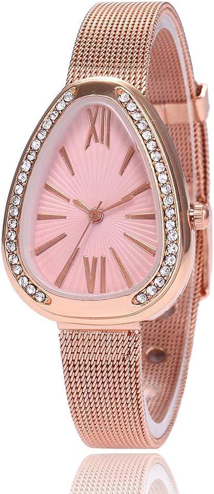 Montre Montre-Bracelet pour Femme Cadeau Montre en Maille en Or Rose Personnalité Triangle Diamond Set Watch Green