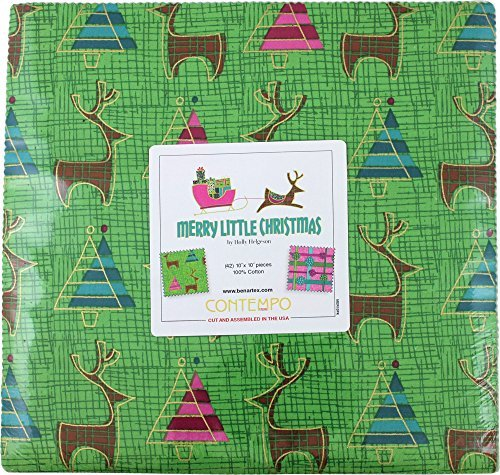 Merry Christmas Fabric (Holly Helgeson Merry Little Christmas 10X10 Pack 42 10-inch Squares Layer Cake Benartex)