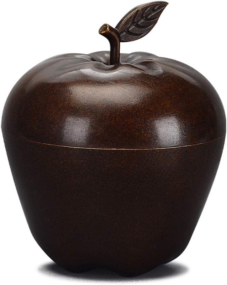 Sencilla creativa cenicero manzana cobre oficina sala de estar casera mesa de café puro cobre puro a prueba de viento decoración cenicero grande con tapa cenicero (Color : Marrón): Amazon.es: Coche y
