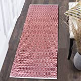 Fernish Décor 100% Contemporary Cotton Scandinavian Area Rug Fully Reversible, Size-2' X 5', Machine Washable, Red White, Unique for Bedroom, Living Room, Kitchen, Nursery and More