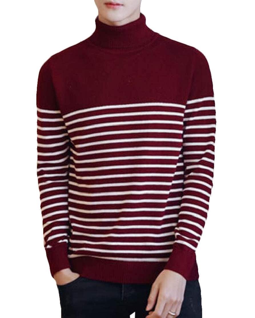 BU2H Men Plus Size Casual Long Sleeve Turtel Neck Striped Pullover Sweater