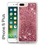 KC Liquid Bling Glitter Floating Sparkle Stars Quicksand Case Hard Transparent Back Cover for Apple iPhone 8 Plus - Rose Gold
