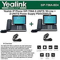 Yealink SIP-T56A 2PACK IP Phone 16Lines + 2PACK Power Supply PS5V2000US 5Volts