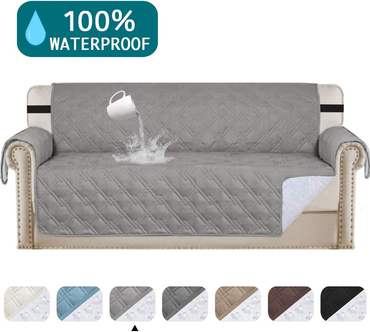 "Turquoize Waterproof Sofa Slipcover Oversized Sofa Cover for Living Room Non-Slip Couch Covers for Dogs Pet Quilted Furniture Covers Washable Protects from Kids, Dogs, Cats(Oversize Sofa 78"",Dove)"