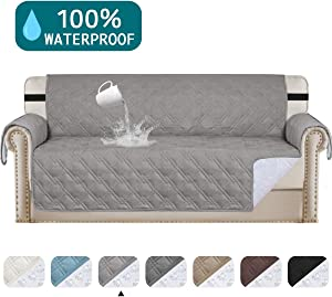 "Turquoize Waterproof Sofa Cover Waterproof Couch Protector for Living Room Non-Slip Couch Covers for Dogs Pet Quilted Furniture Covers for Sofa Furniture Protector Non Slip Cover (Sofa 68"", Dove)"
