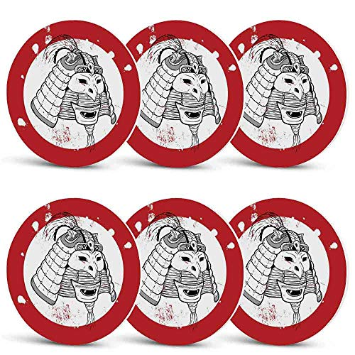 Kabuki Mask Decoration Custom Coasters,Asian Ethnic Mask Design Grunge Stained Look Ronin Fighter Face for Wine Glasses Cups & MugsSet of 6