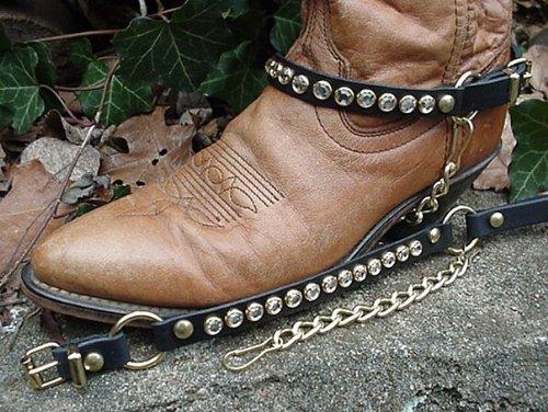 Stivali Western Stivali Da Donna In Pelle Nera Con Strass Di Cristallo, Hardware Dorato