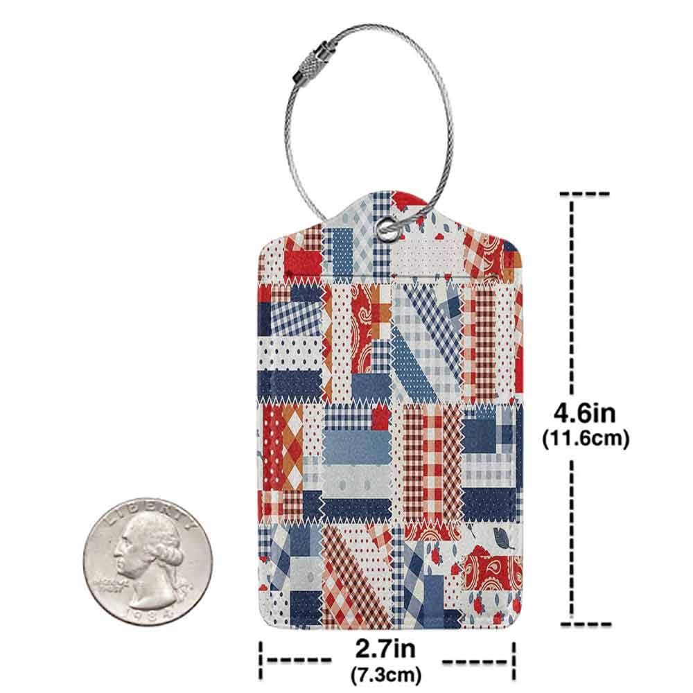 Soft luggage tag Farmhouse Decor Country Featured Mix Scottish Alternating Houndstooth and Polka Dot Patterns Bendable Blue Red W2.7 x L4.6