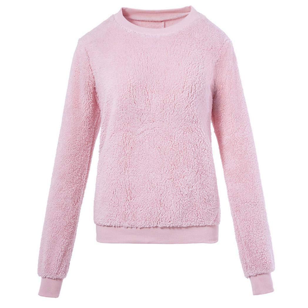 Plush Solid Pullover Sweater,ZYooh Women's Fluffy Fleece Sweatshirt Round Neck Plus Size Autumn Coat Tops (Pink, M)
