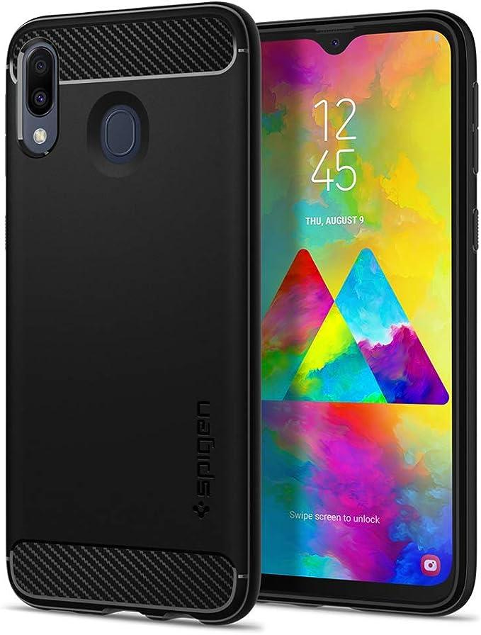 Spigen, Funda Compatible con Samsung Galaxy M20 [Rugged Armor] Absorción de Choque Resistente y diseño de Fibra de Carbono [Compatible con Carga Inalámbrica] - [Negro Mate] 610CS25968: Amazon.es: Electrónica