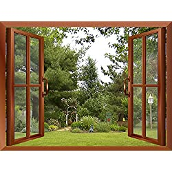 "wall26 Beautiful Garden/Backyard View from inside a Window Removable Wall Sticker/Wall Mural - 36""x48"""