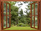 Wall26 - Beautiful Garden/Backyard View from inside a Window | Wall26 Removable Wall Sticker / Wall Mural - 36