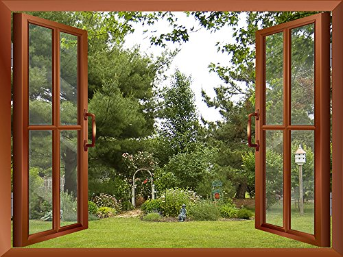 Beautiful Garden Backyard View from inside a Window Removable Wall Sticker Wall Mural